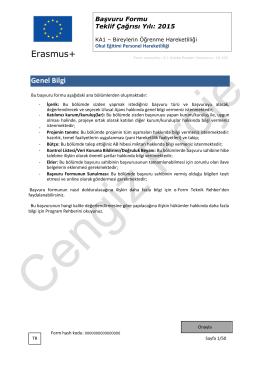 2015 KA101 Başvuru Formu Okul Eğitimi Personel Hareketliliği