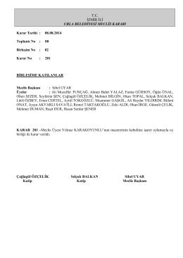 08 Ağustos 2014 Meclis Kararı