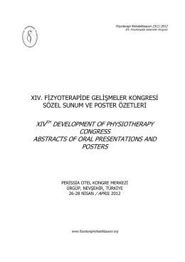 XIV. Fizyoterapide Gelişmeler Kongresi Sözel Sunum ve Poster