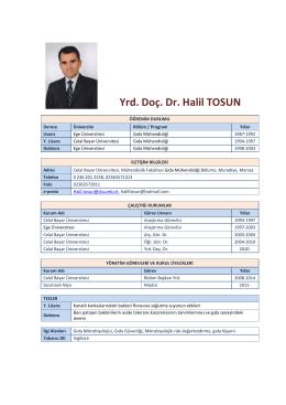 Yrd. Doç. Dr. Halil TOSUN - Celal Bayar Üniversitesi