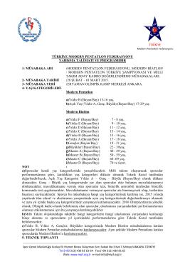 Yarışma Reglamanı - TÜRKİYE Modern Pentatlon Federasyonu