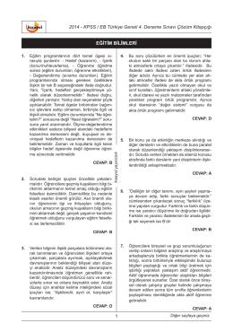KPSS Eğitim Bilimleri Türkiye Geneli Deneme Sınavı 4 Çözümleri