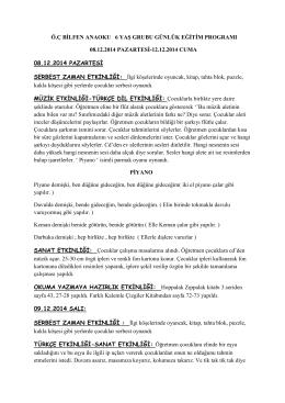 ö.ç bilfen anaoku 6 yaş grubu günlük eğitim programı 08.12.2014