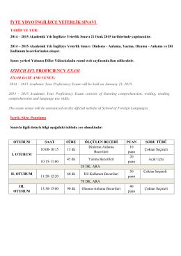 iyte ydyo ingilizce yeterlik sınavı ıztech sfl profıcıency exam