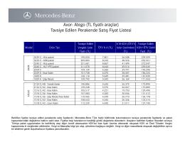 Tavsiye Edilen Perakende Satis Fiyatlari-Kasim - Mercedes-Benz
