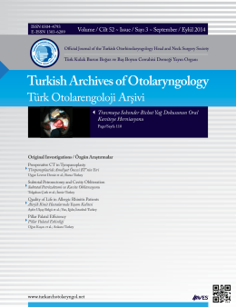 Turkish Archives of Otolaryngology