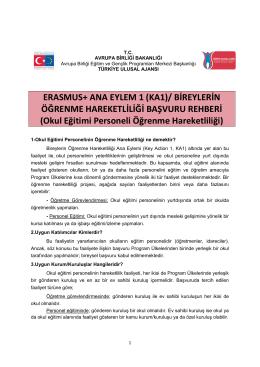 ERASMUS+ ANA EYLEM 1 (KA1)/ BİREYLERİN ÖĞRENME