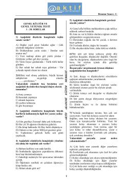 Deneme Sınavı -1 - Aktif Akademi Eğitim Merkezi