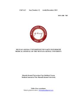 Sayı 12 - Mustafa Kemal Üniversitesi