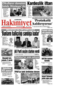 07 Temmuz 2014 Pazartesi - Çorum Hakimiyet Gazetesi