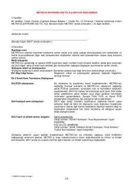 Metro Elektronik Bayilik Sözleşmesi