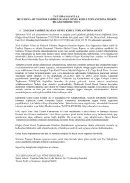 2013 Olağan Genel Kurul Bilgilendirme Dökümanı