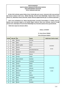 16 Mart 2014 Tarihinde yapılan Maliye Uzman Yardımcılığı