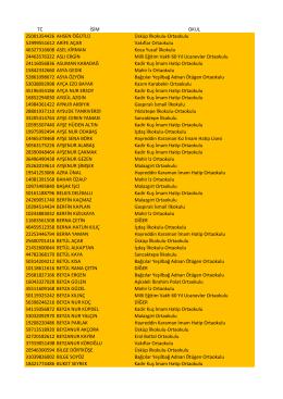 TC İSİM OKUL 25001354426 AHSEN ÖĞÜTLÜ
