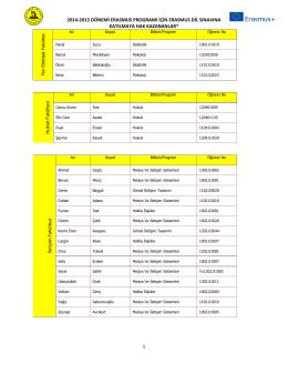 2014-2015 DÖNEMİ ERASMUS PROGRAMI İÇİN ERASMUS DİL
