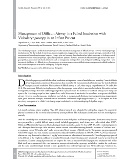 Management of Difficult Airway in a Failed Intubation