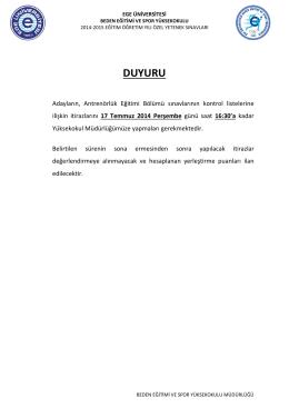 DUYURU - Beden Eğitimi ve Spor Yüksekokulu