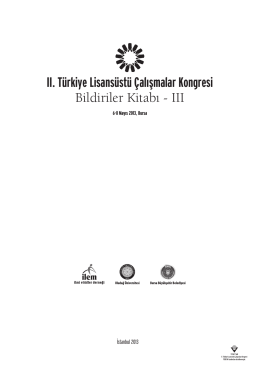 II. Türkiye Lisansüstü Çalışmalar Kongresi Bildiriler Kitabı