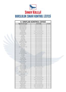 4. sınıflar kontrol listesi