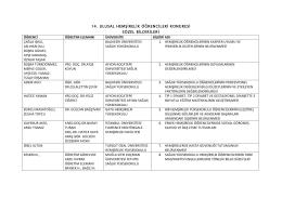 Liste İçin Tıklayınız! - 14. Ulusal Hemşirelik Öğrencileri Kongresi