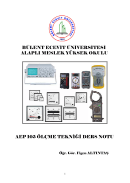 ÖLÇME VE ÖLÇÜ ALETLERİ - Bülent Ecevit Üniversitesi
