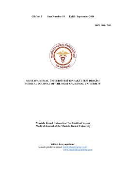 Sayı - 19 - Mustafa Kemal Üniversitesi