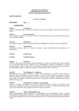 Akdeniz Üniversitesi Makine Mühendisliği Bölümü Lisans Ders