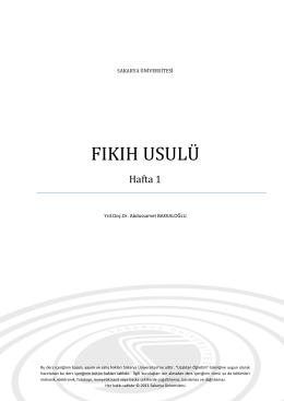 fıkıh usulü - sauPORT - Sakarya Üniversitesi