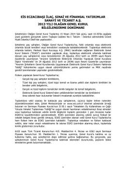 Olağan Genel Kurul Bilgilendirme Dokümanı-15.04.2014