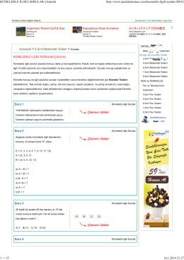 KÜMELERLE İLGİLİ SORULAR Çözümlü (464008)