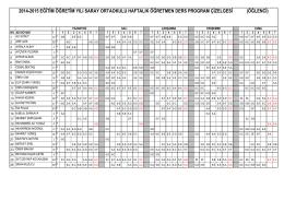 2014-2015 EĞİTİM ÖĞRETİM YILI SARAY ORTAOKULU HAFTALIK
