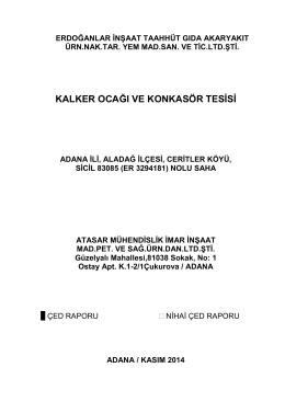 kalker ocağı ve konkasör tesisi - Çevre ve Şehircilik Bakanlığı