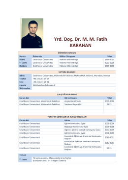 Yrd. Doç. Dr. M. M. Fatih KARAHAN