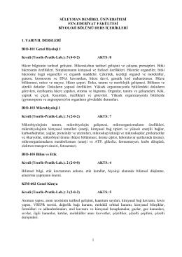 Biyoloji Bölümü Ders İçerikleri - Fen Edebiyat Fakültesi