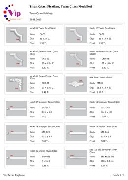 Tavan Çıtası Fiyatları, Tavan Çıtası Modelleri