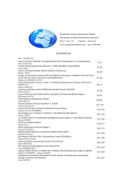 İçindekiler - Journal of International Social Research