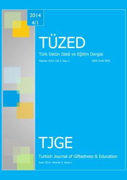 Türk Üstün Zekâ ve Eğitim Dergisi Turkish Journal of Giftedness
