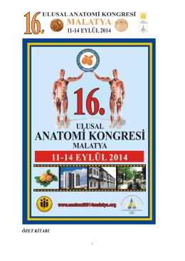KONGRE ÖZET KİTAPÇIĞI - 16. Ulusal Anatomi Kongresi