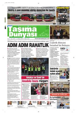 Taşıma Dünyası Gazetesi-160 PDF 3 Kasım 2014 tarihli sayısını
