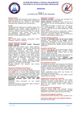Kardiyak Dökümanı - KBUDEK Eksternal Kalite Kontrol Programı