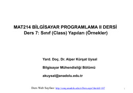 (Class) Yapıları (Örnekler)