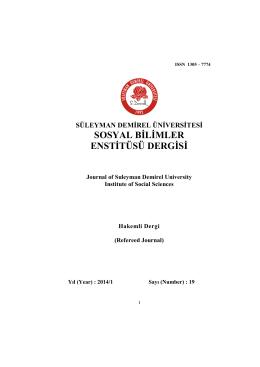 süleyman demirel üniversitesi sosyal bilimler enstitüsü dergisi