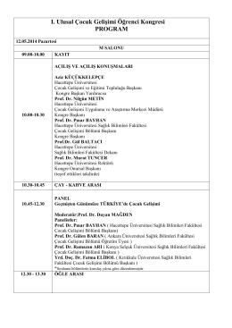 Kongre Programı - Hacettepe Üniversitesi I. Ulusal Çocuk Gelişimi