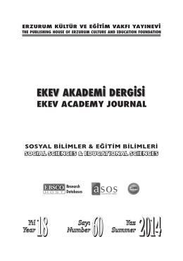 İçindekiler - Ekev Akademi Dergisi