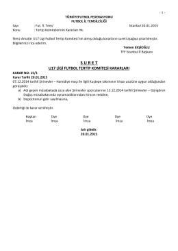 u17 tertip komitesi kararı - T.F.F. İstanbul İl Başkanlığı