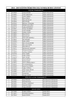 yüksekokullar listesi