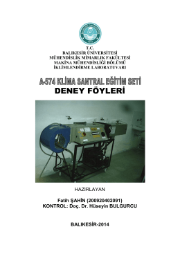 DENEY FÖYLERİ - Balıkesir Üniversitesi Makine Mühendisliği Bölümü