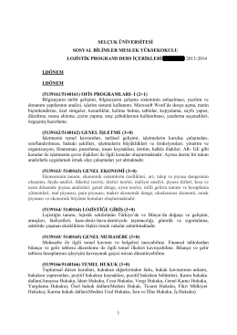 Lojistik - Selçuk Üniversitesi