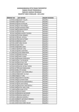 muafiyet sınav sonuçları - 20.01.2014 öğrenci no adı