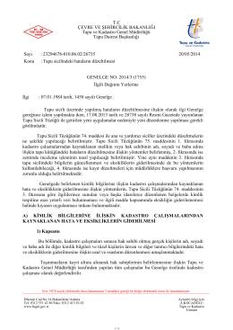 GENELGE NO: 2014/3 - Tapu ve Kadastro Genel Müdürlüğü
